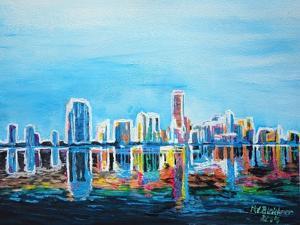 Neon Shimmering Skyline Silhouette, Miami, Florida by Martina Bleichner