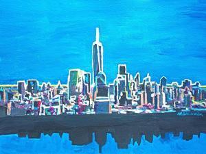 Neon Skyline of New York City Manhattan with One World Trade Center by Martina Bleichner