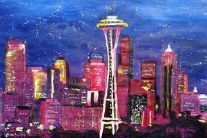 Seattle Skyline with Space Needle at Night by Martina Bleichner
