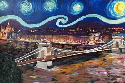 Starry Night in Budapest Hungary with Danube