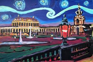 Starry Night in Dresden with Zwinger and Van Gogh by Martina Bleichner