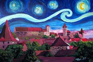 Starry Night in Nuremberg Germany with Castle and by Martina Bleichner