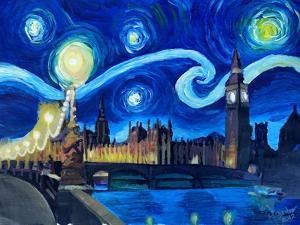Starry Night London Parliament Van Gogh Inspired by Martina Bleichner