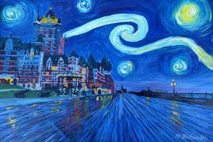 Starry Night Quebec Chateau Frontenac Van Gogh by Martina Bleichner