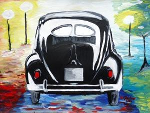 Surf VW Bug Series - The Black Volkswagen Bug Split Window by Martina Bleichner