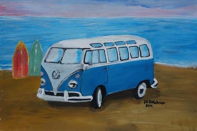 The Blue Volkswagen Bulli Surf Bus with Surf Board