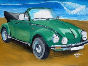 The VW Bug Series - The Green Volkswagen Bug at the the Beach by Martina Bleichner