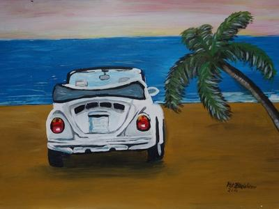 The VW Bug Series - The White Volkswagen Bug at the Beach