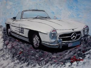 The White Mercedes SL 300 1957 by Martina Bleichner