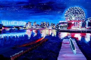 Vancouver Skyline At Starry Night by Martina Bleichner