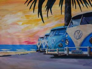 VW Volkswagen Bully Series - Blue Surf Bus Line by Martina Bleichner