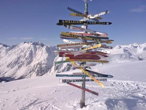 Worldwide Signpost in Ischgl, Austria by Martina Bleichner