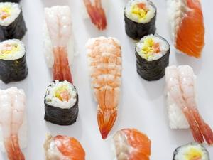 Various Types of Nigiri and Maki Sushi by Martina Schindler