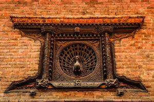 Detail of Carved Peacock Window in Bhaktapur, Nepal by MartinM303