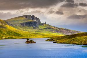 Landscape View of Old Man of Storr Rock Formation and Lake, Scotland by MartinM303