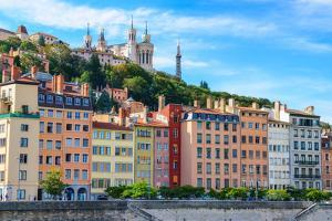 Lyon Colorful Houses View from Saone River by MartinM303