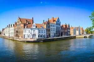 Panorama View of River Canal and Colorful Houses in Bruges by MartinM303