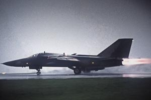 General Dynamics F111 Fighter Bomber Taking off at Full Power by Martyn Goddard