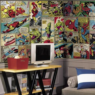 Marvel Comic Panel XL Chair Rail Prepasted Mural