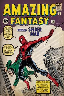 Marvel Comics Retro: Amazing Fantasy Comic Book Cover No.15, Introducing Spider Man (aged)