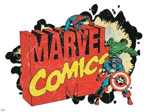 Marvel Comics Retro Badge Featuring Spider-Man, Hulk, Captain America