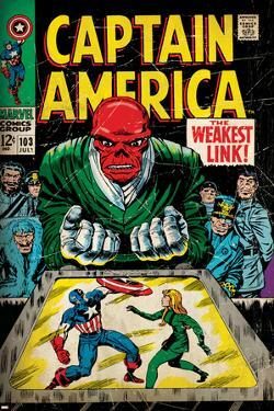 Marvel Comics Retro: Captain America Comic Book Cover No.103, Red Skull, the Weakest Link (aged)