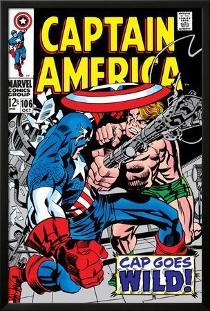 Marvel Comics Retro: Captain America Comic Book Cover No.106, Cap Goes Wild