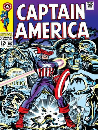 Marvel Comics Retro: Captain America Comic Book Cover No.107, with Red Skull and Bucky