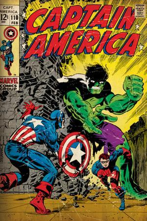Marvel Comics Retro: Captain America Comic Book Cover No.110, with the Hulk and Bucky (aged)