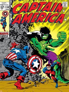 Marvel Comics Retro: Captain America Comic Book Cover No.110, with the Hulk and Bucky