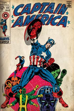 Marvel Comics Retro: Captain America Comic Book Cover No.111, with Hydra and Bucky (aged)