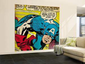 Marvel Comics Retro: Captain America Comic Panel, Monologue, I'm in Luck! (aged)