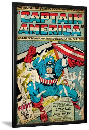 Marvel Comics Retro: Captain America Comic Panel; Smashing through Window (aged)