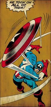 Marvel Comics Retro: Captain America Comic Panel, Throwing Shield (aged)