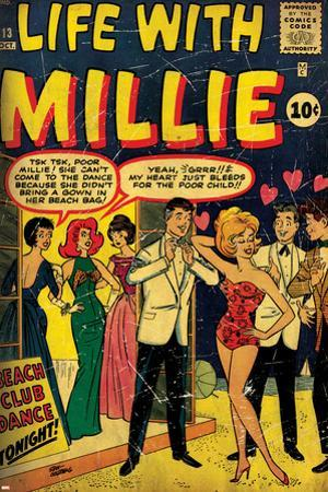 Marvel Comics Retro: Life with Millie Comic Book Cover No.13, Bathing Suit, Beach Club Dance (aged)