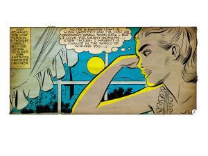 Marvel Comics Retro: Love Comic Panel, Alone at Window under Moonlight (aged)