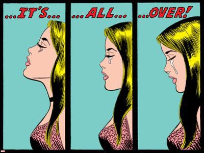 Marvel Comics Retro: Love Comic Panel, Crying, It's All Over!