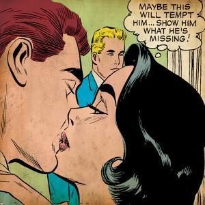 Marvel Comics Retro: Love Comic Panel, Kissing (aged)