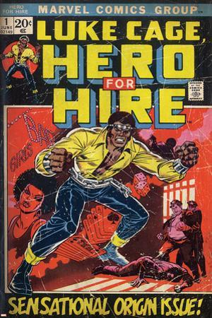 Marvel Comics Retro: Luke Cage, Hero for Hire Comic Book Cover No.1, Origin (aged)