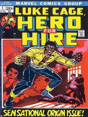 Marvel Comics Retro: Luke Cage, Hero for Hire Comic Book Cover No.1, Origin
