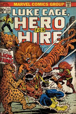 Marvel Comics Retro: Luke Cage, Hero for Hire Comic Book Cover No.13, Fighting Lion-fang (aged)