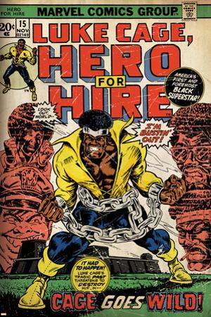 Marvel Comics Retro: Luke Cage, Hero for Hire Comic Book Cover No.15, in Chains (aged)