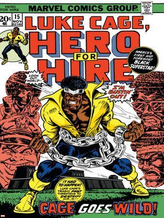 Marvel Comics Retro: Luke Cage, Hero for Hire Comic Book Cover No.15, in Chains