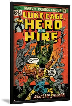 Marvel Comics Retro: Luke Cage, Hero for Hire Comic Book Cover No.6, Assassin in Armor! (aged)