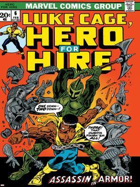 Marvel Comics Retro: Luke Cage, Hero for Hire Comic Book Cover No.6, Assassin in Armor!