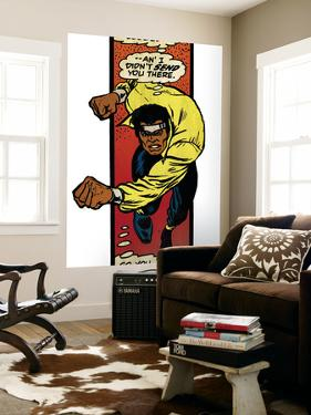 Marvel Comics Retro: Luke Cage, Hero for Hire Comic Panel, Charging (aged)