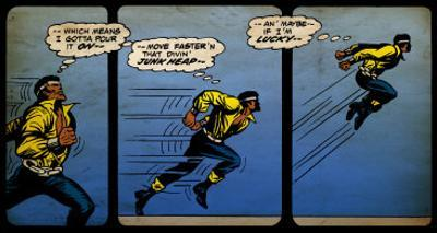 Marvel Comics Retro: Luke Cage, Hero for Hire Comic Panel, Running and Jumping (aged)