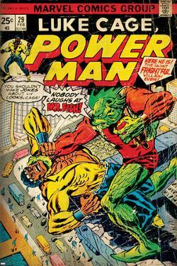 Marvel Comics Retro: Luke Cage, Power Man Comic Book Cover No.29, Fighting Mr. Fish (aged)