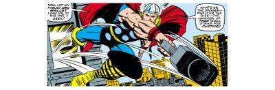 Marvel Comics Retro: Mighty Thor Comic Panel, Flying and Jumping