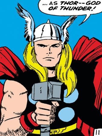 Marvel Comics Retro: Mighty Thor Comic Panel; God of Thunder! Holding Hammer